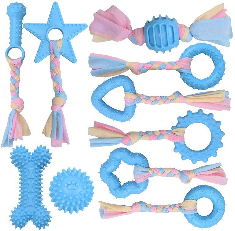 YMHPRIDE 10 Paquetes de Juguetes de Cuerda para Perros, Juguetes de Cuerda de algodón para Masticar Cachorros, Juegos de Regalo, Juguetes de Cuerda de algodón para Masticar (Azul)