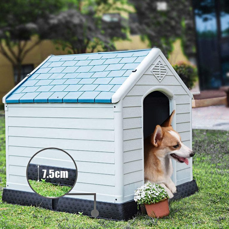 COSTWAY Casa para Perros de Plástico para Jardín Interior y Exterior Caseta para Perro con Suelo Elevado (S)