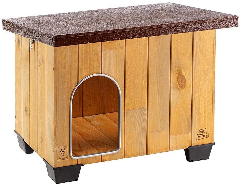Ferplast Caseta de exterior para perros BAITA 60, Madera ecosostenible, Pies aislantes, Puerta con perfil de aluminio resistente a las mordeduras, Techo...