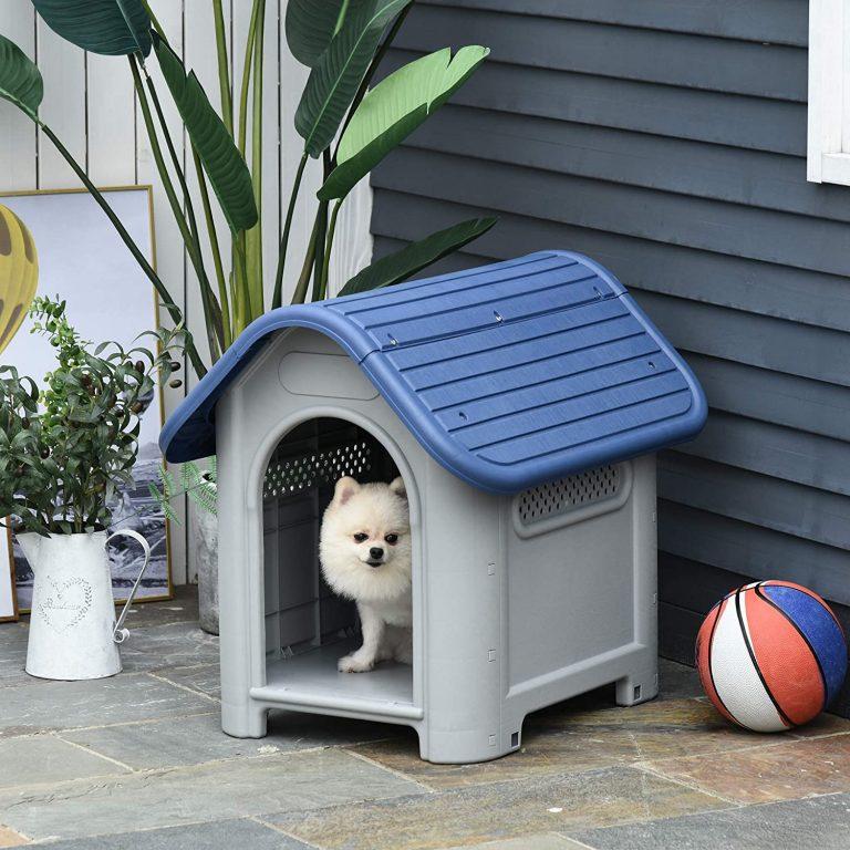 Pawhut Caseta para Perros Pequeños y Mini para Uso Interior y Exterior con respiraderos Estilo Cabaña Resistente 59x75x66 cm Azul y Gris