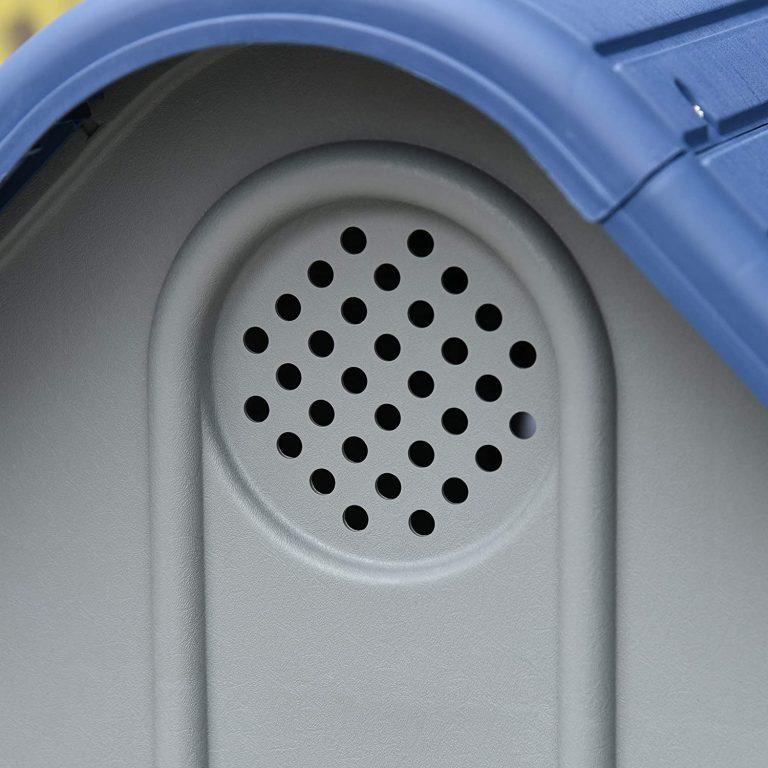 Pawhut Caseta para Perros Pequeños y Mini para Uso Interior y Exterior con respiraderos Estilo Cabaña Resistente 59x75x66 cm Azul y Gris 3