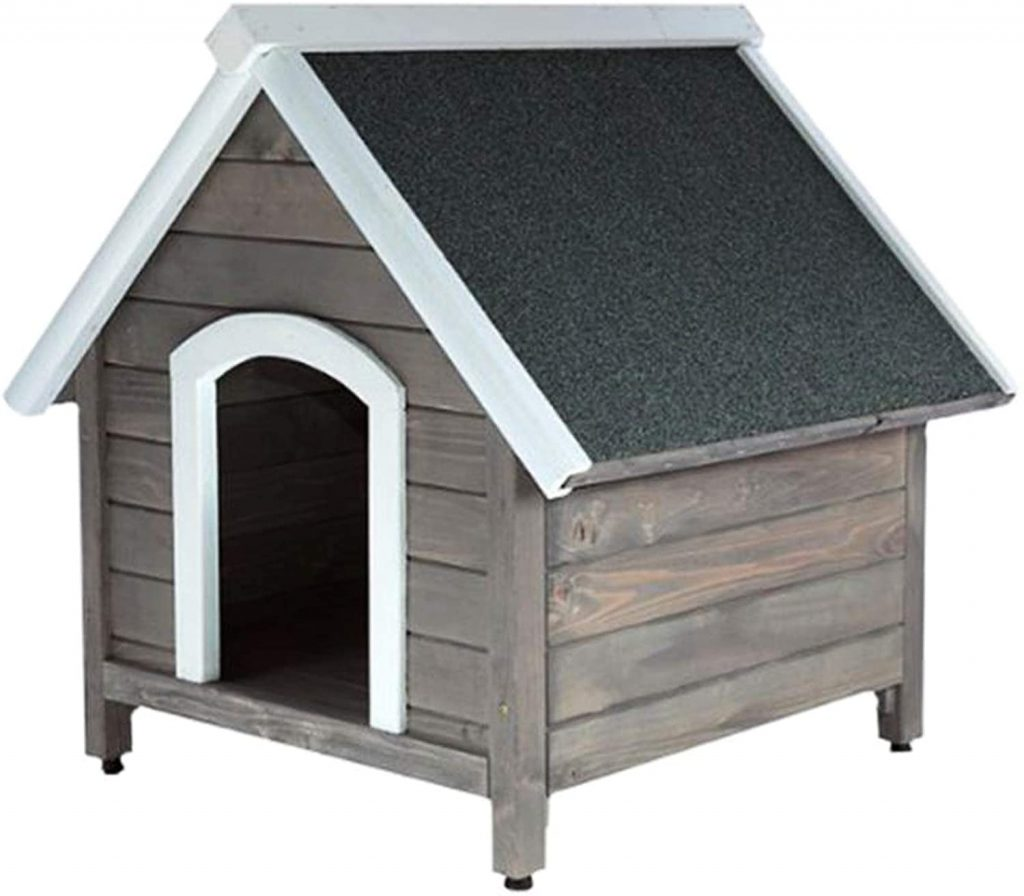 RM E-Commerce Caseta de perro para exterior, jardín, casa para perros de madera con tejado puntiagudo, cabaña de madera para perros pequeños y medianos, 80 x 88,5 x 81 cm