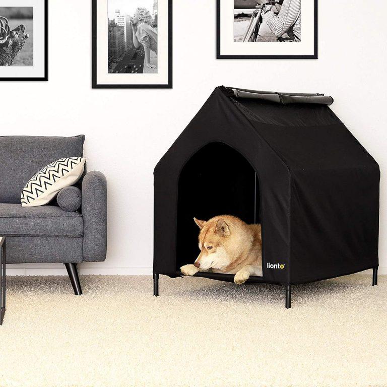 lionto Cama para Perros Cubierta Cama elevada con Techo para Perros Negro (M) 110 x 75 x 105 cm 3