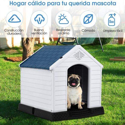 COSTWAY Casa para Perros de Plástico para Jardín Interior y Exterior Caseta para Perro con Suelo Elevado (S)2