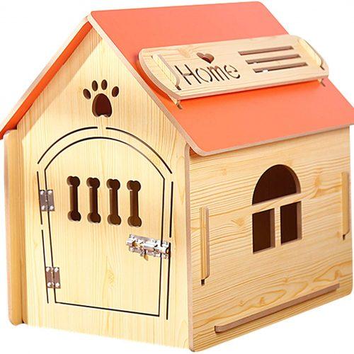Casa de Madera para Perros I Casa para Perros de Interior I Lugar para Dormir para Las Mascotas I Repelente al Agua y Estable I Varios tamaños y Colores (L (59 x 43 x 59cm), Style 1)