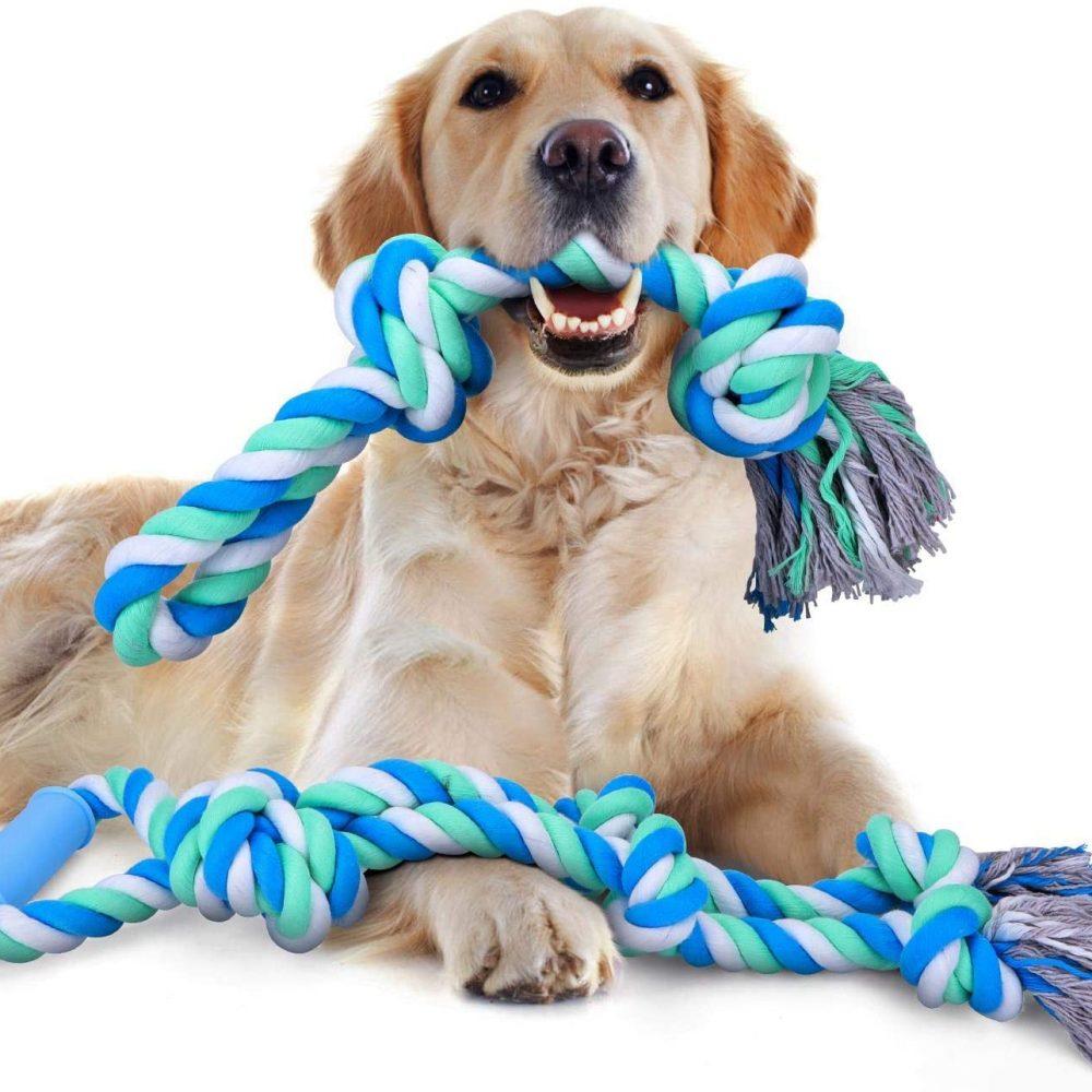 Nobleza - Juguetes de Cuerda para Perros, Juguete para Masticar con 5+2 Nudos para los Que mastican con agresividad, Cuerdas XL de 70+50cm para Perros Grandes y Fuertes