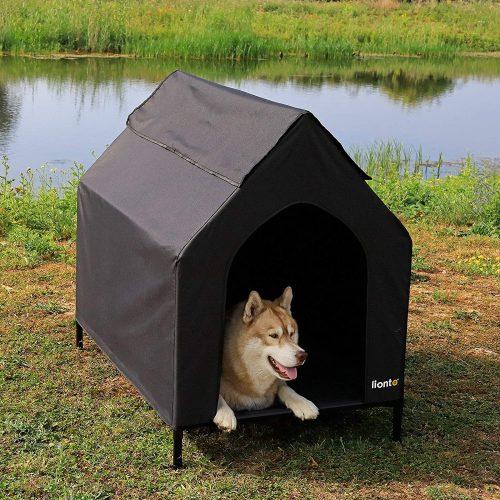 lionto Cama para Perros Cubierta Cama elevada con Techo para Perros Negro (M) 110 x 75 x 105 cm 2